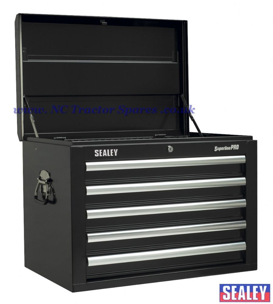 Topchest 5 Drawer with Ball Bearing Runners - Black.